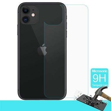 Microsonic Apple iPhone 11 (6.1'') Arka Temperli Cam Ekran Koruyucu Renksiz
